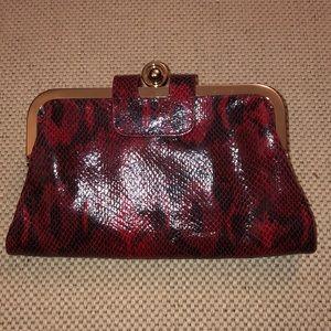 Kate Landry Leather (Faux Snakeskin) Clutch